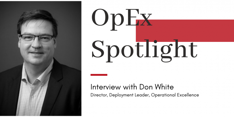 """Headshot of Don White with title """"OpEx Spotlight"""" and red block design"""