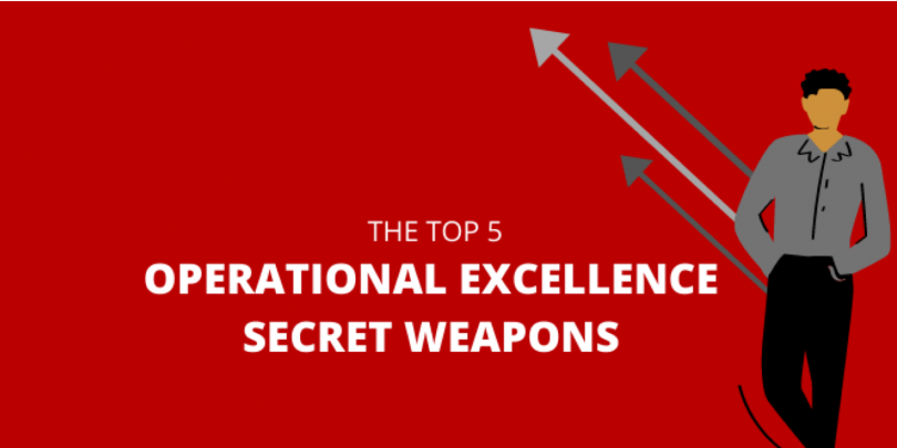 Red background with white text that reads: The Top 5 Operational Excellence Secret Weapons. Cartoon Man on the side with rising arrows.