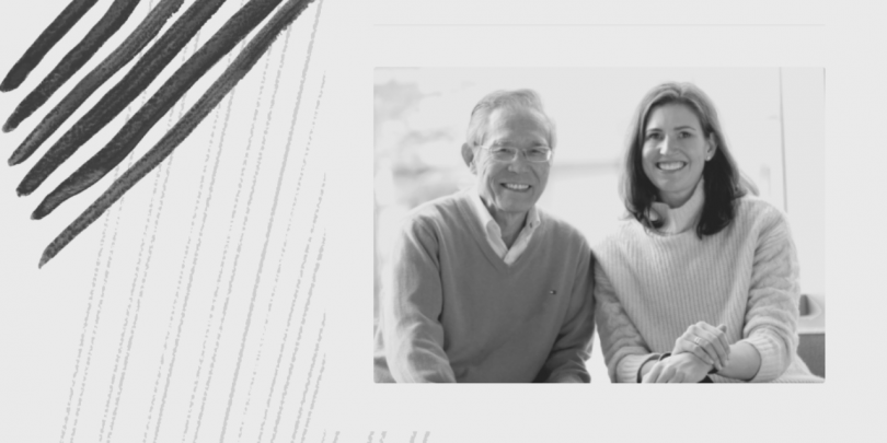Black and white image of Katie Anderson and Toyota leader Isao Yoshino