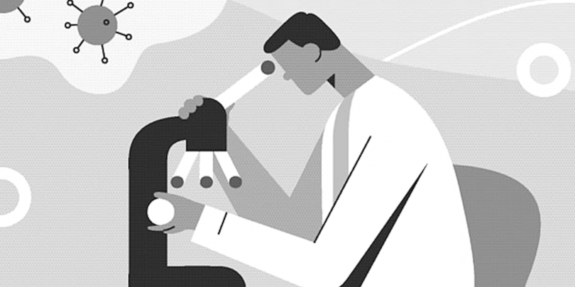 Black and white cartoon image of a scientist at a microscope