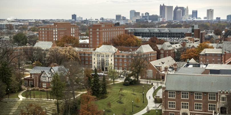 Ohio State's campus with Columbus in the background