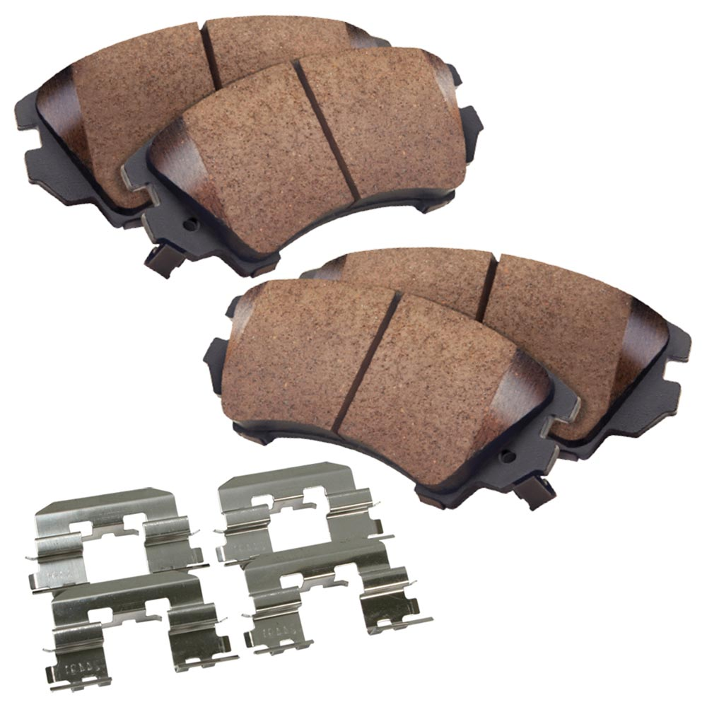 Rear Ceramic Brake Pads w/Hardware Kit - Check Fitment Chart