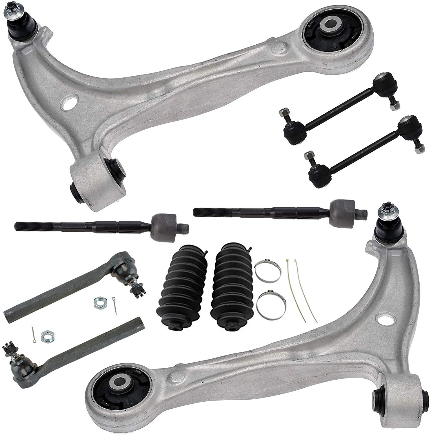 PartsW 10 Pc New Front Suspension Kit for Honda Odyssey 1999-2001 Inner /& Outer Tie Rod End /& Sway Bar End Link Control Arms /& Ball Joints Left /& Right Side Rack /& Pinion Bellow Boot