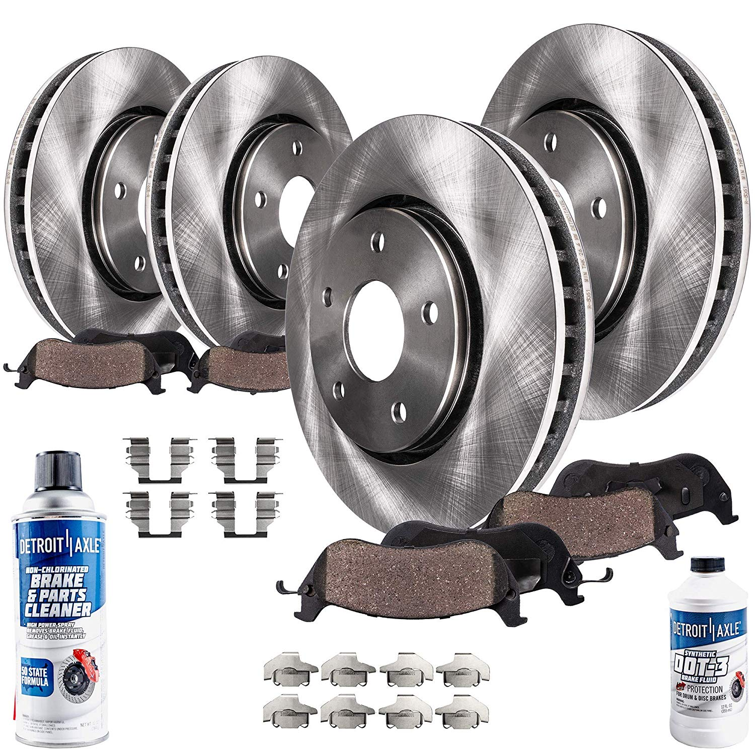 Front + Rear Brake Rotors and Ceramic Pads - 13-14 Ford Flex Limited, SEL