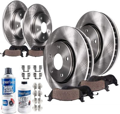 11.4'' Front & 12.13'' Rear Disc Brake Rotors Ceramic Pads w/ Hardware for 04-15 Nissan Quest - 10pc Set