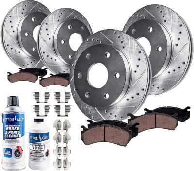 Front & Rear Drilled & Slotted Brake Rotors + Ceramic Pads for Chevy GMC Cadillac