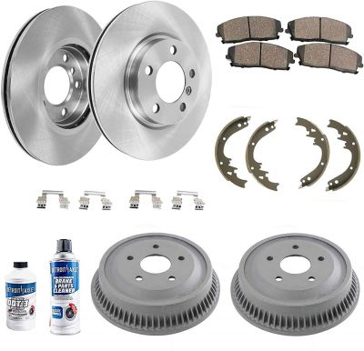 10pc Front Brakes Rotors & Rear Drums + Pads Shoes for Dodge