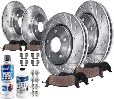 Front Rear Brake Rotors + Pads Drilled & Slotted for 08 Subaru Impreza