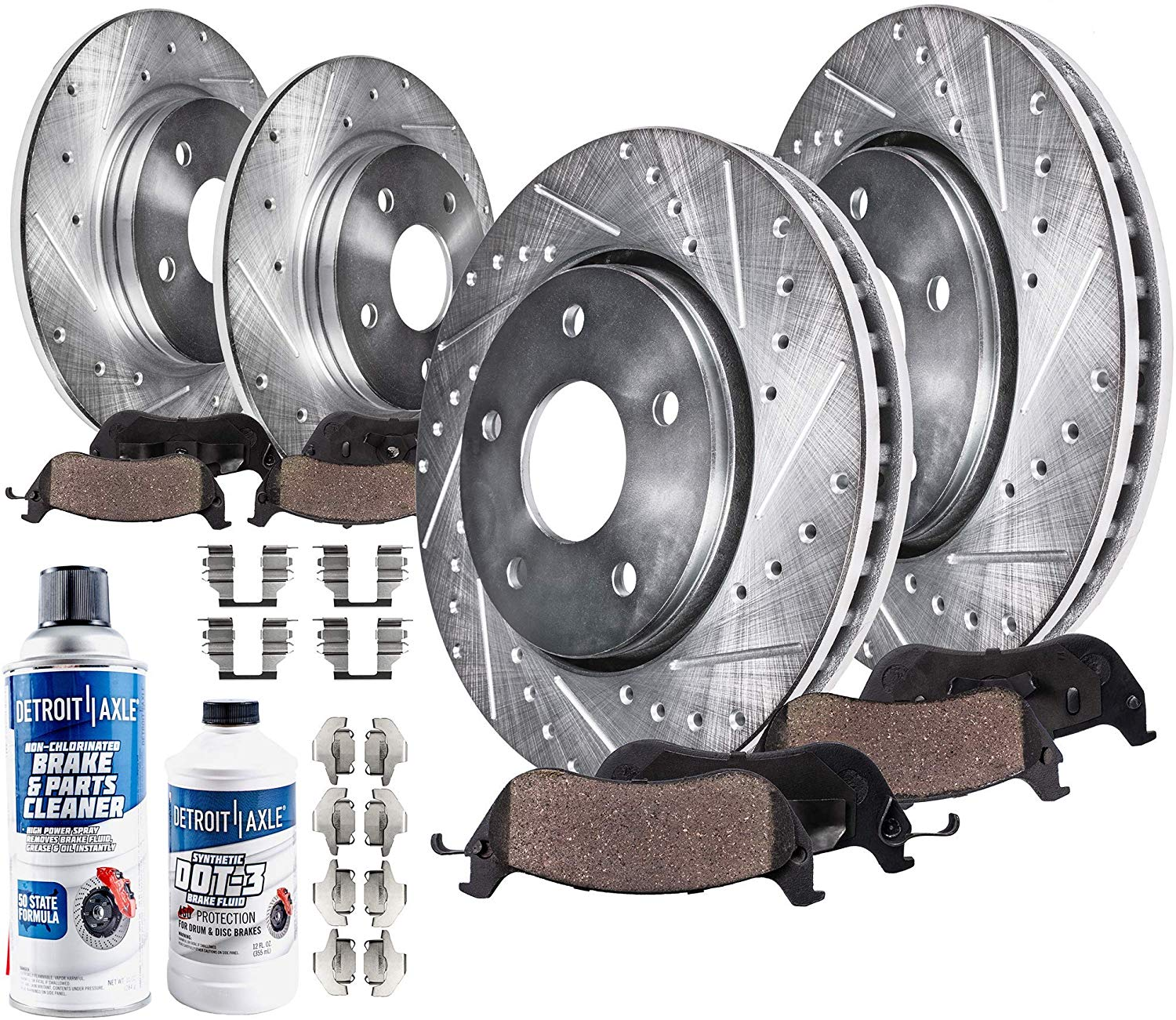 Front+Rear Drill Brake Rotors And Ceramic Pads For 2008-2013 Toyota Highlander