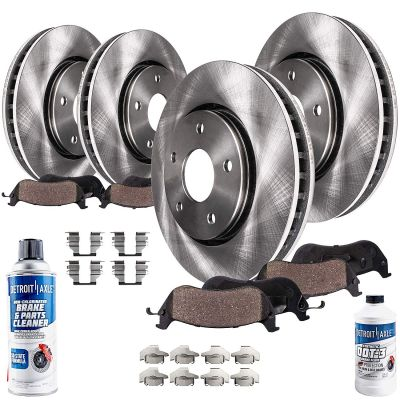 Front and Rear Brake Rotor w/Pad Kit for Steel (Large) Piston Calipers