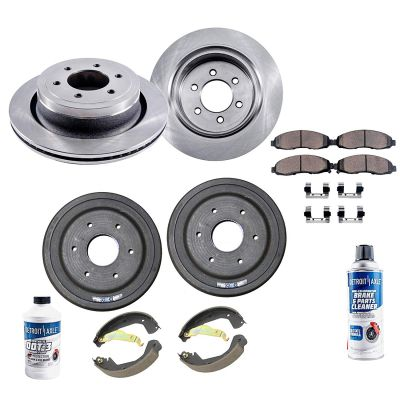 Front Disc Rotor, Rear Brake Drum w/Brake Pad, Brake Shoe Kit | Chevy, GMC