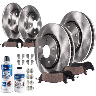 296mm Front + 279mm Rear Rotors and Brake Pads Kit - 2.4L FWD