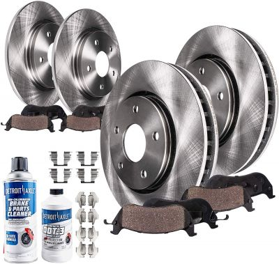 Front and Rear Disc Brake Rotors + Ceramic Pads for Chevy Pontiac Saturn - See Fitment | 10PR1700035
