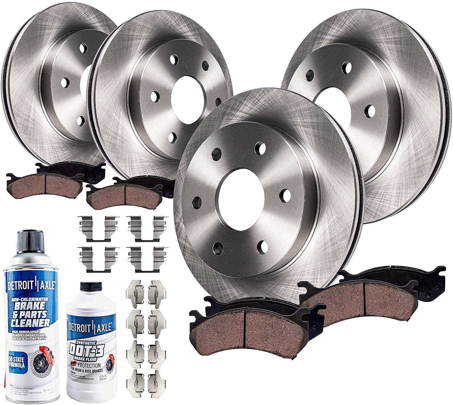 Front and Rear Rotors /& Ceramic Pads For 2003 2004 2005 LINCOLN AVIATOR