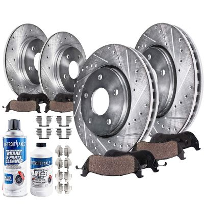 302mm Front & 305mm Rear Brake Rotors and Pads Kit for Chrysler Town & Country Dodge Grand Caravan Ram C/V VW Routan [Single Piston Calipers] - Drilled and Slotted
