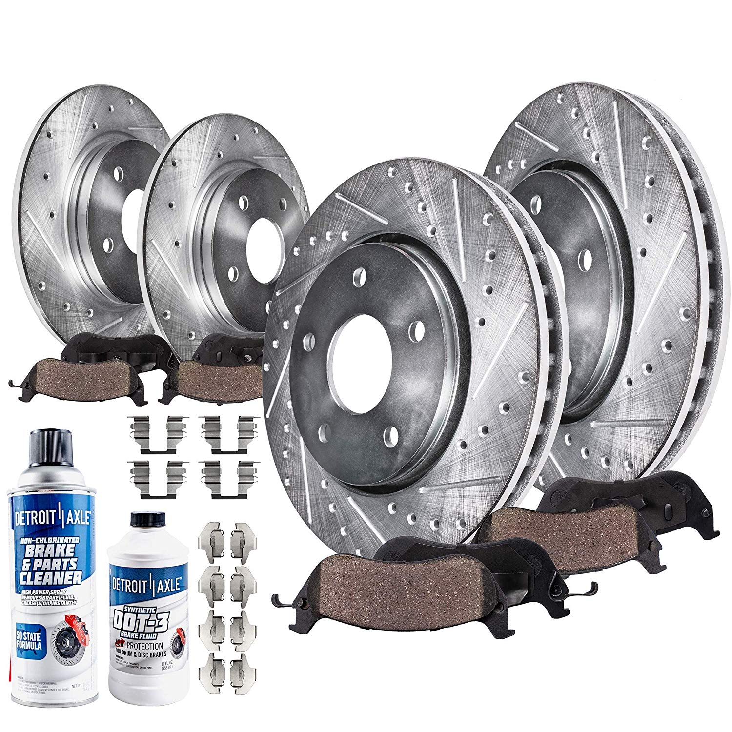 Drilled and Slotted Front / Rear Brakes Kit Rotors + Pads - Single Piston Caliper Models