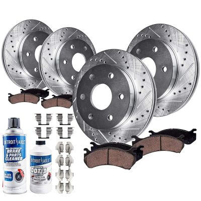 305mm Front & 330mm Rear Brake Rotors and Pads Kit for Cadillac Chevy GMC [Dual Piston Caliper Version] - Drilled and Slotted