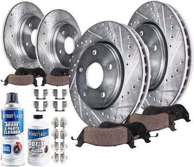 Front Rear Drilled Brake Rotors Ceramic Pads w/ Hardware for Acura TSX Honda Accord - 10pc Set