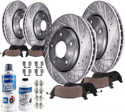 Front and Rear Drilled Brake Rotors & Pads | 10PR1900282 for AWD V6 or 5.7L Models