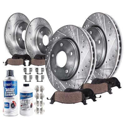 295mm Front & 262mm Rear Brake Rotors and Pads Kit for Dodge Jeep Chrysler Models - Drilled and Slotted