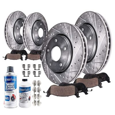 296mm Front & 292mm Rear Brake Rotors and Pads Kit for Nissan 350Z Infiniti G35 [with Standard Brake Package ONLY] - Drilled and Slotted