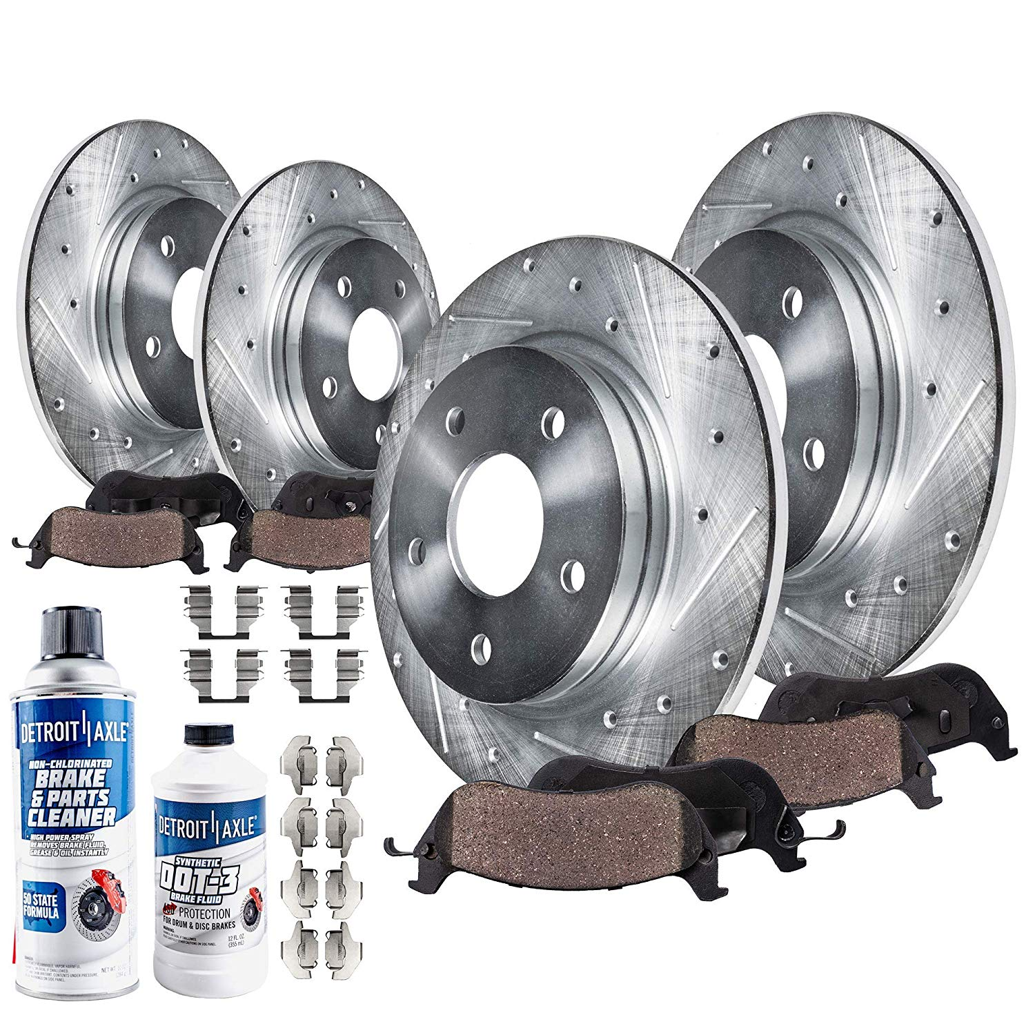 Front & Rear Drilled Slotted Brake Rotors + Pads for 13-16 Subaru BRZ