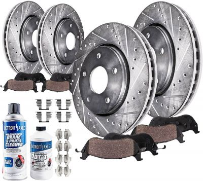 Front & Rear Drilled Brake Rotors + Pads for 2009-2017 Nissan Maxima