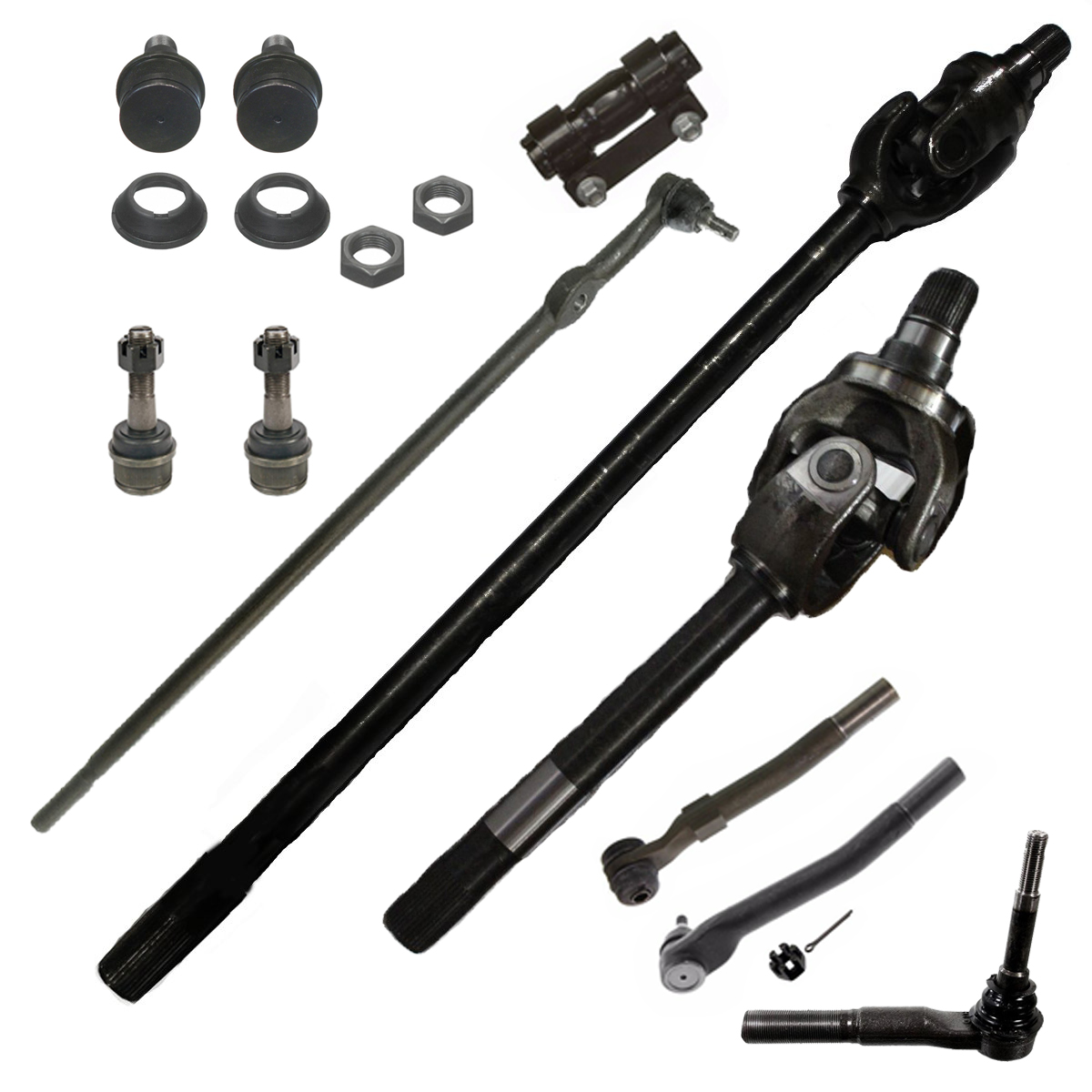 Front CV Axle Shaft + Suspension Kit for 4WD Dana 60 Axle