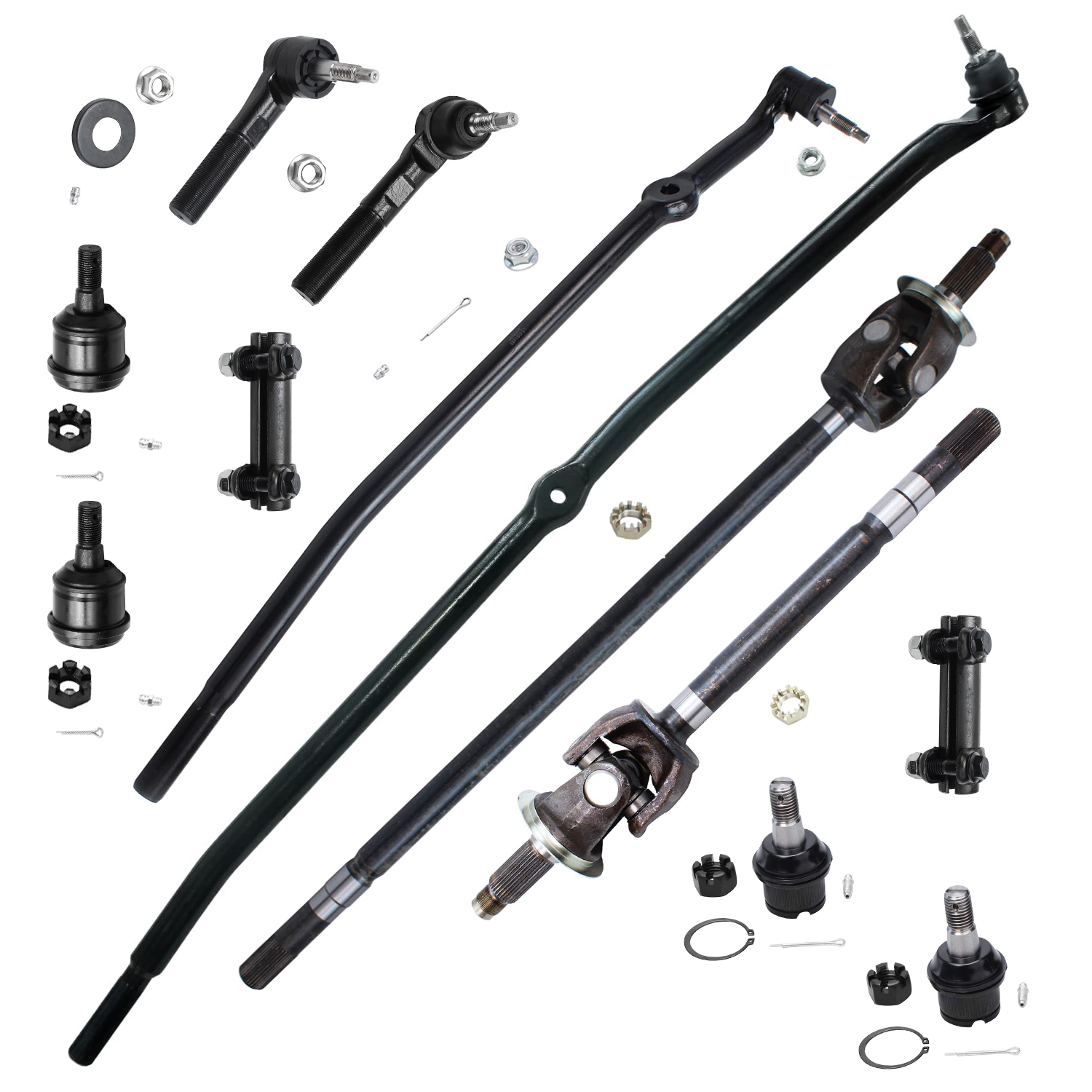 12pc Front CV Axle Shafts Suspension Kit For 1st Design w/Solid Front Axle