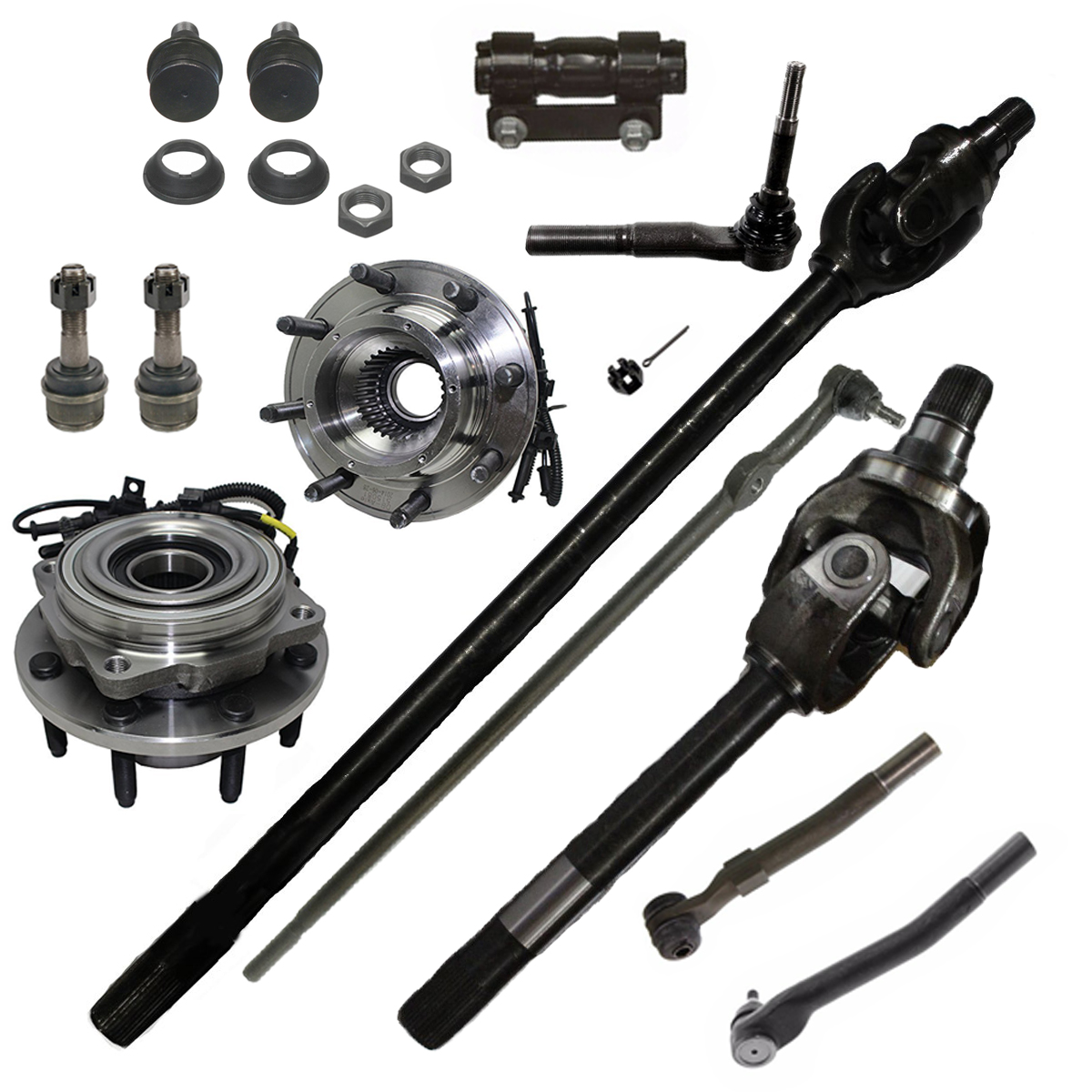 13pc Front CV Axle Shaft+Wheel Bearing Kit for Dana 60 Axle