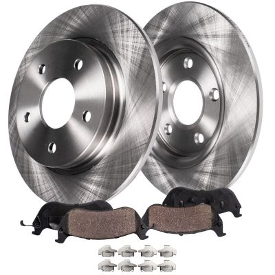 Rear Brake Rotors and Ceramic Brake Pads for V6 RWD (SOLID ROTORS) - Charger, Challenger, 300, Magnum