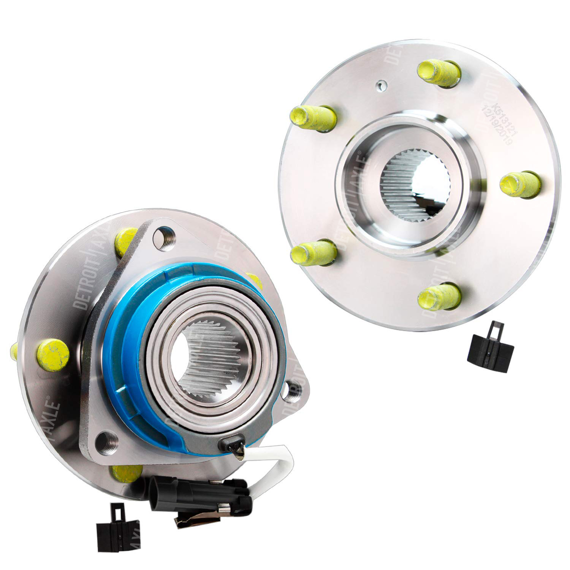 Both (2) Front Wheel Hub and Bearing Assembly for 5-Lug W/ABS (Pair) 513121 x2