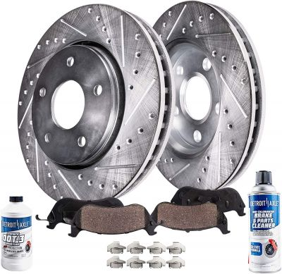 Front Drilled Slotted Rotors Ceramic Pads for Jeep Grand Cherokee / Wrangler / Comanche - See Fitment