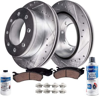 Front Drilled Brake Rotor + Ceramic Pad | 4WD/AWD READ FITMENT