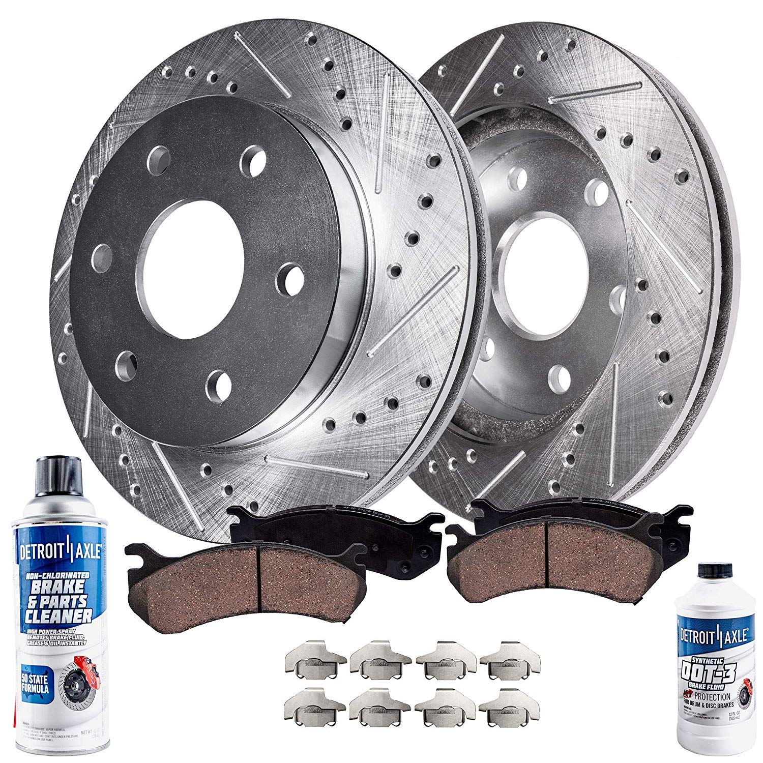 Front Brake Rotors and Ceramic Pads – Drilled and Slotted - 4.2L V6 - Buick, Chevrolet, GMC, Isuzu, Saab