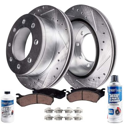 Front Drilled & Slotted Disc Brake Rotor w/Ceramic Pad for 00-02 Dodge