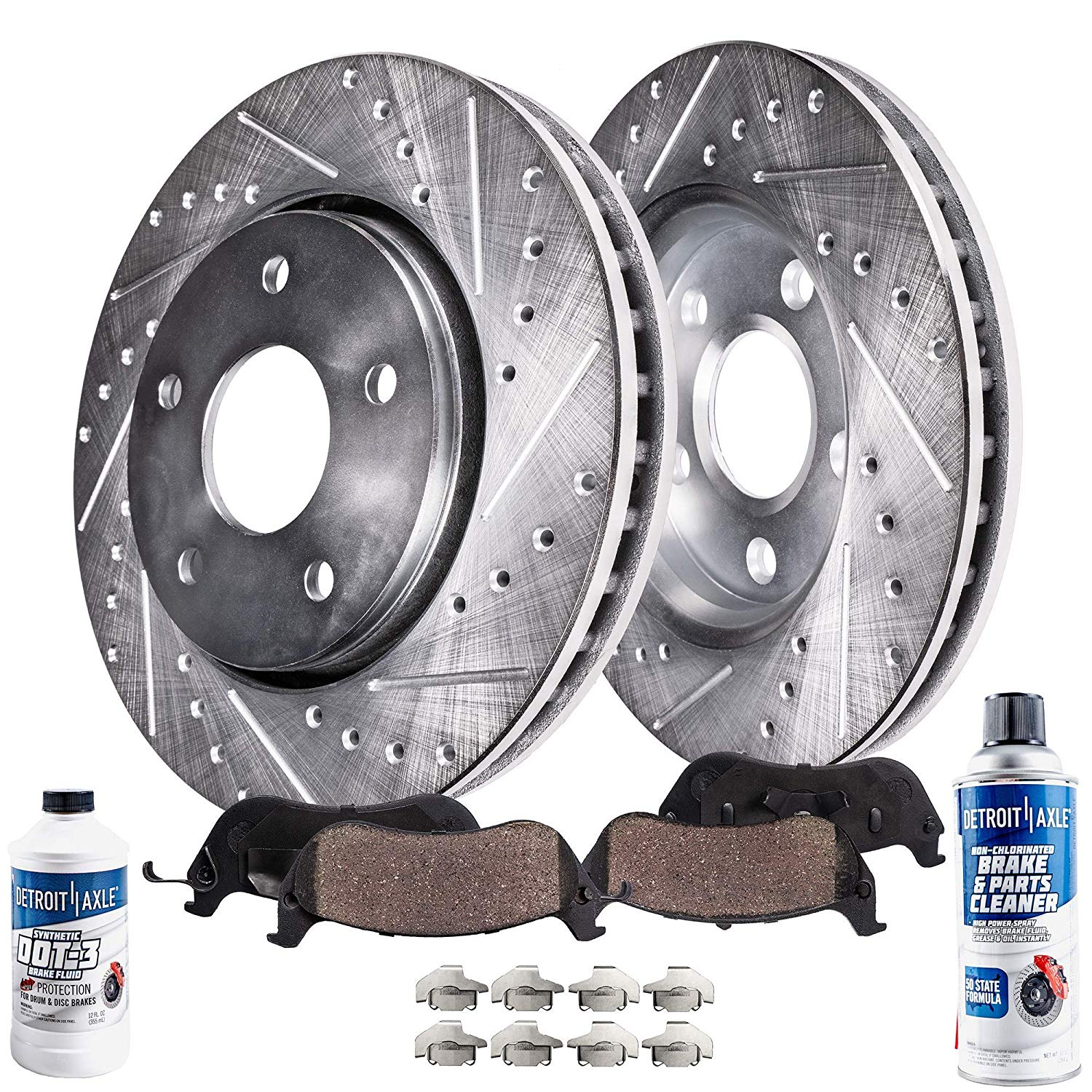 2011 Benz ML350 w//Rear Solid Rotors OE Replacement Rotors w//Ceramic Pads F+R