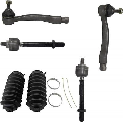 6pc Front Inner Outer Tie Rod + Rack Boots Kit for Honda Civic Acura EL