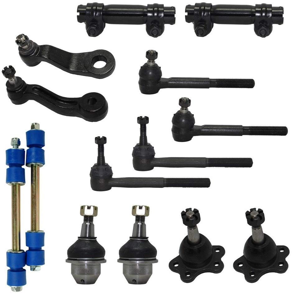 4WD Lower Forged Control Arms Models Sway Bar Link 15PC Front Upper Lower Ball Joint Detroit Axle Inner and Outer Tie Rod Kit for 1996-1999 K2500 K1500 Suburban Yukon Tahoe