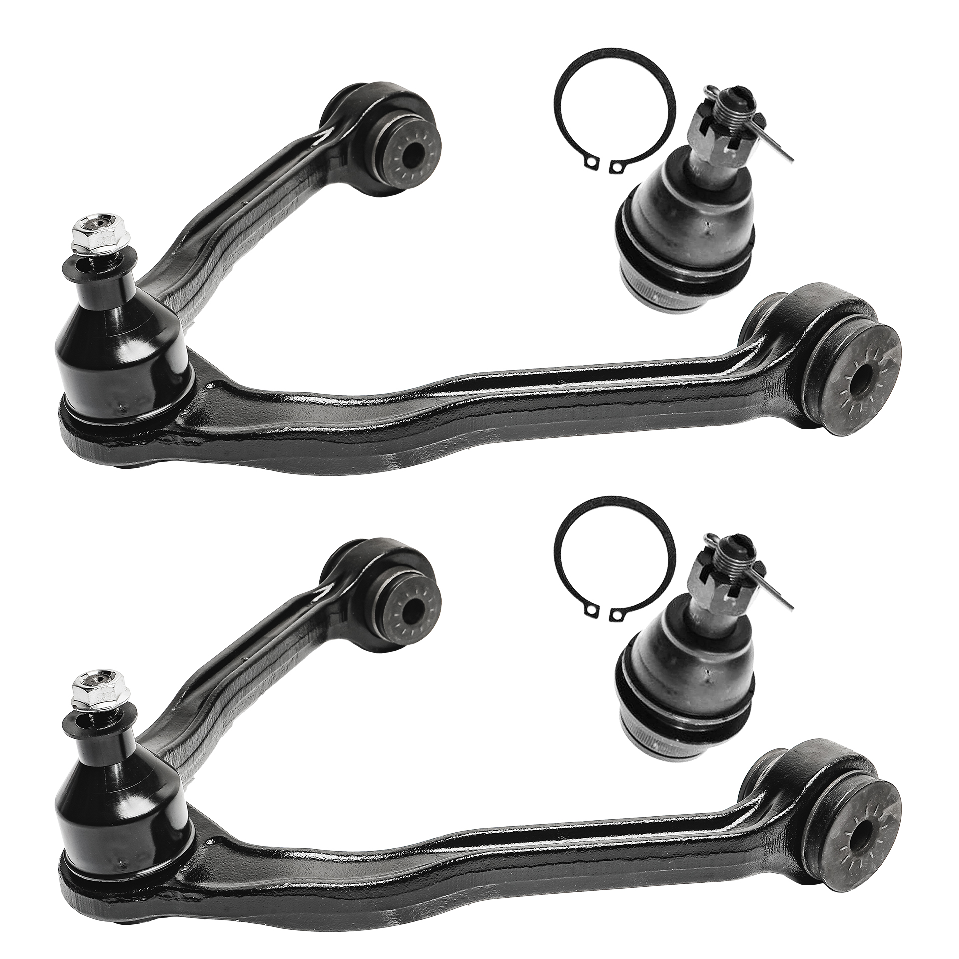 2 Upper Control Arms w//Ball Joints and 2 Lower Ball Joints Fits 4x4 Models Only Detroit Axle Brand New 4 Piece Front Suspension Kit