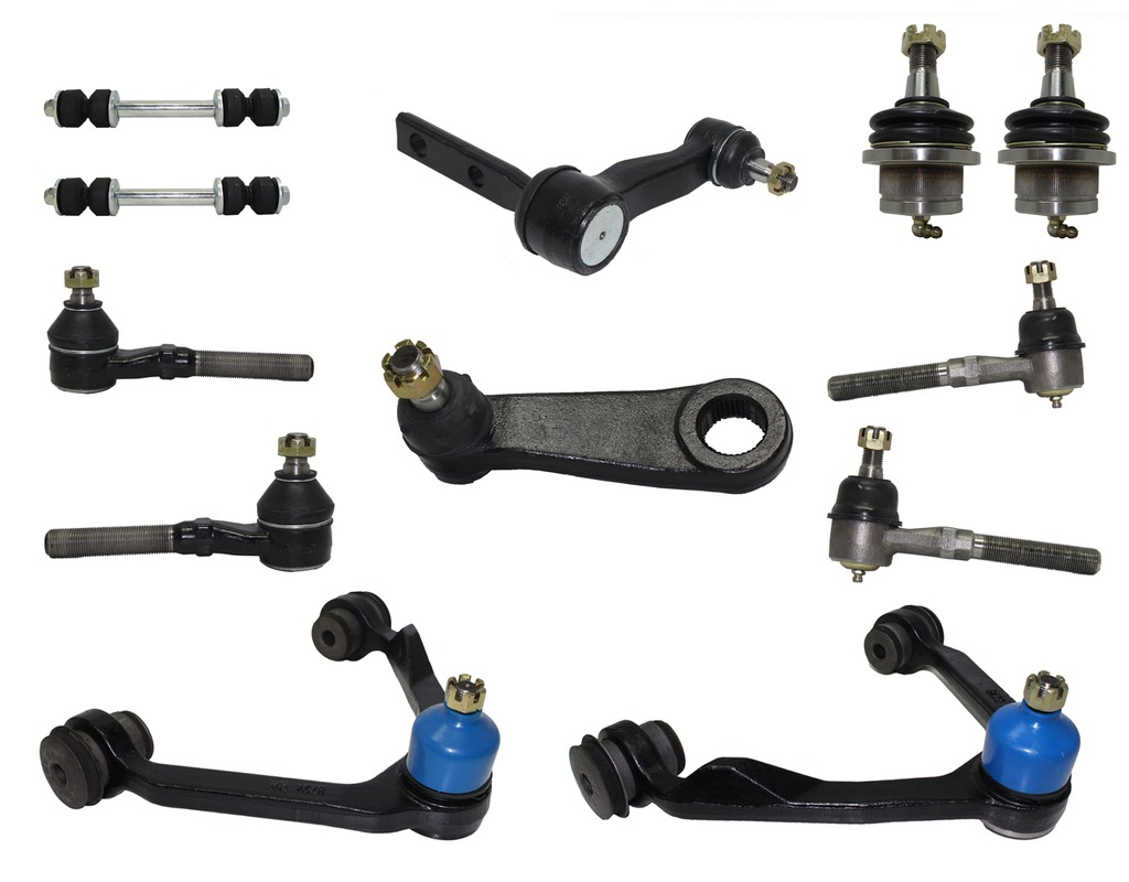 12-Piece 4x4 Only Front Suspension Kit Includes Upper Control Arms, Lower Ball Joints, Inner and Outer Tie Rod Ends, Sway Bar End Links, Pitman and Idler Arm w/2.5