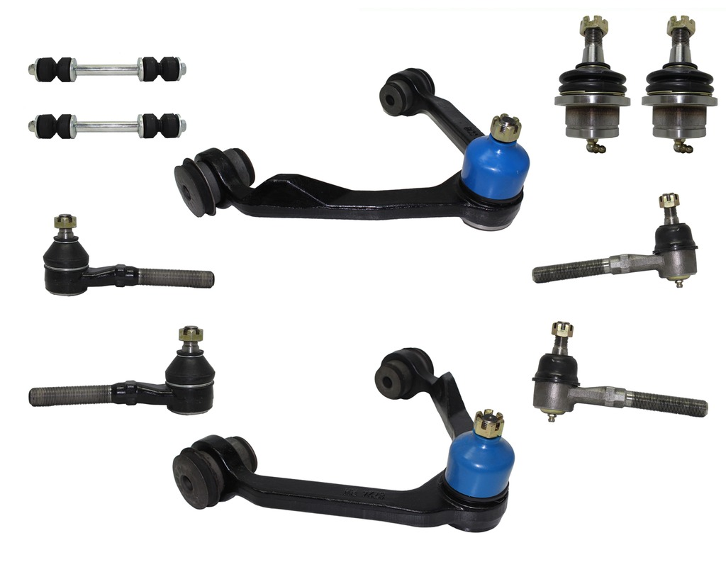 13-Piece 4x4 Only Front Suspension Kit Includes Upper Control Arms, Lower Ball Joints, Inner and Outer Tie Rod Ends, Sway Bar End Links, Adjustment Sleeves and Idler Arm w/2.5