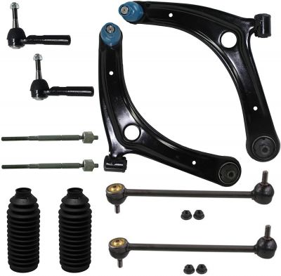 10pc Front Lower Control Arms Tierod Kit | 07-16 Jeep Compass Patriot Caliber