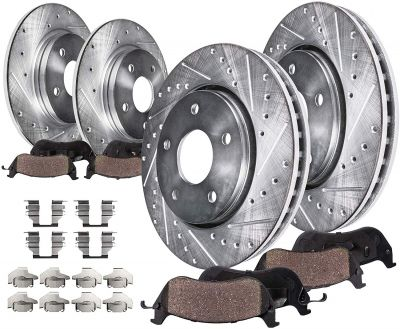 Front and Rear Drilled Brake Rotors w/Ceramic Pads for Ford Lincoln Mazda |