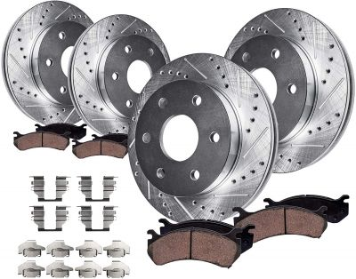 Front Rear DRILLED Brake Rotors + Ceramic Pads for 2001-2006 Chevy GMC