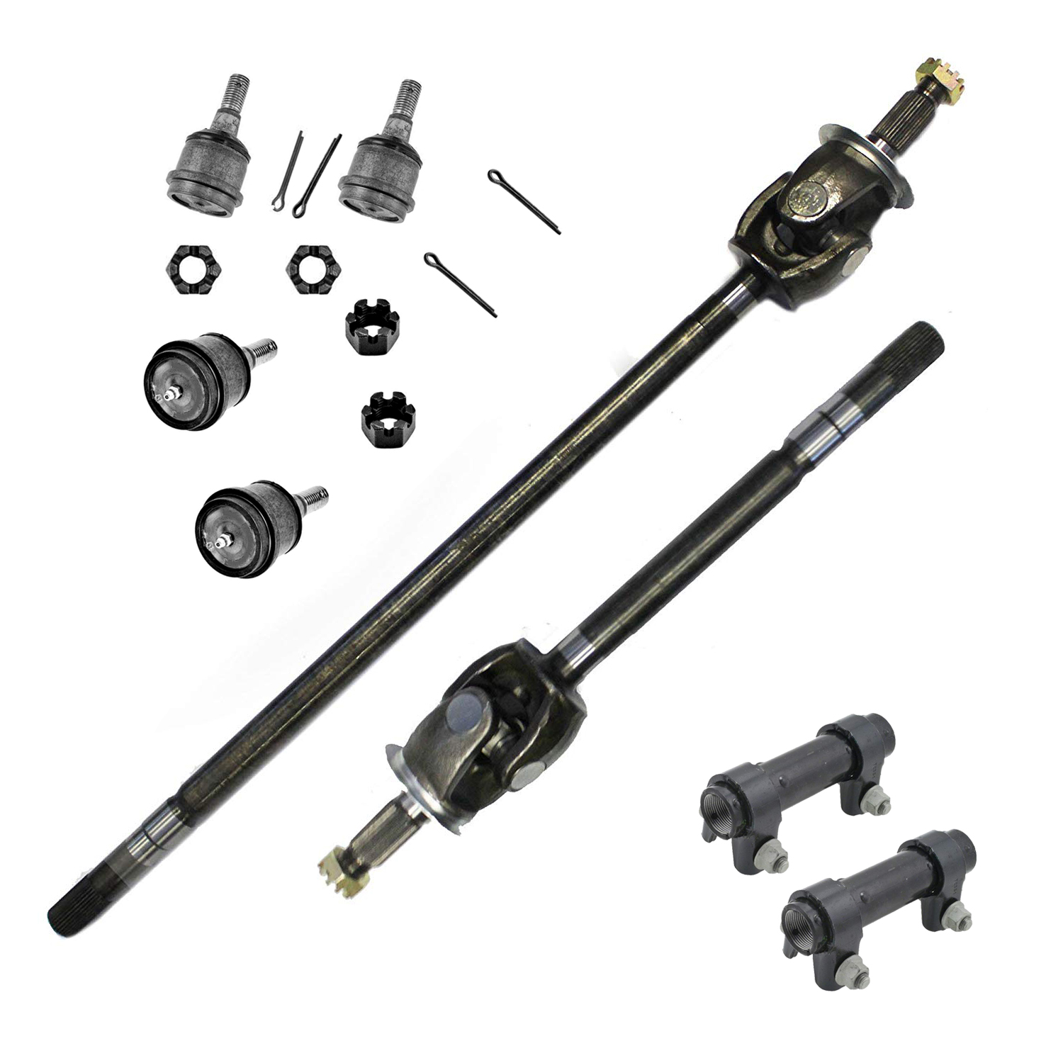 8PC Front CV Axle Shafts + Suspension Kit 4WD 1st Design w/Solid Front Axle