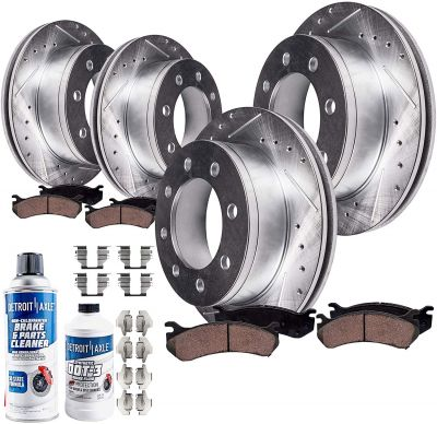 Front & Rear 330mm Brake Rotors and Pads Kit for Chevy/ GMC Single-Rear-Wheel 8-Lug Models - Drilled and Slotted