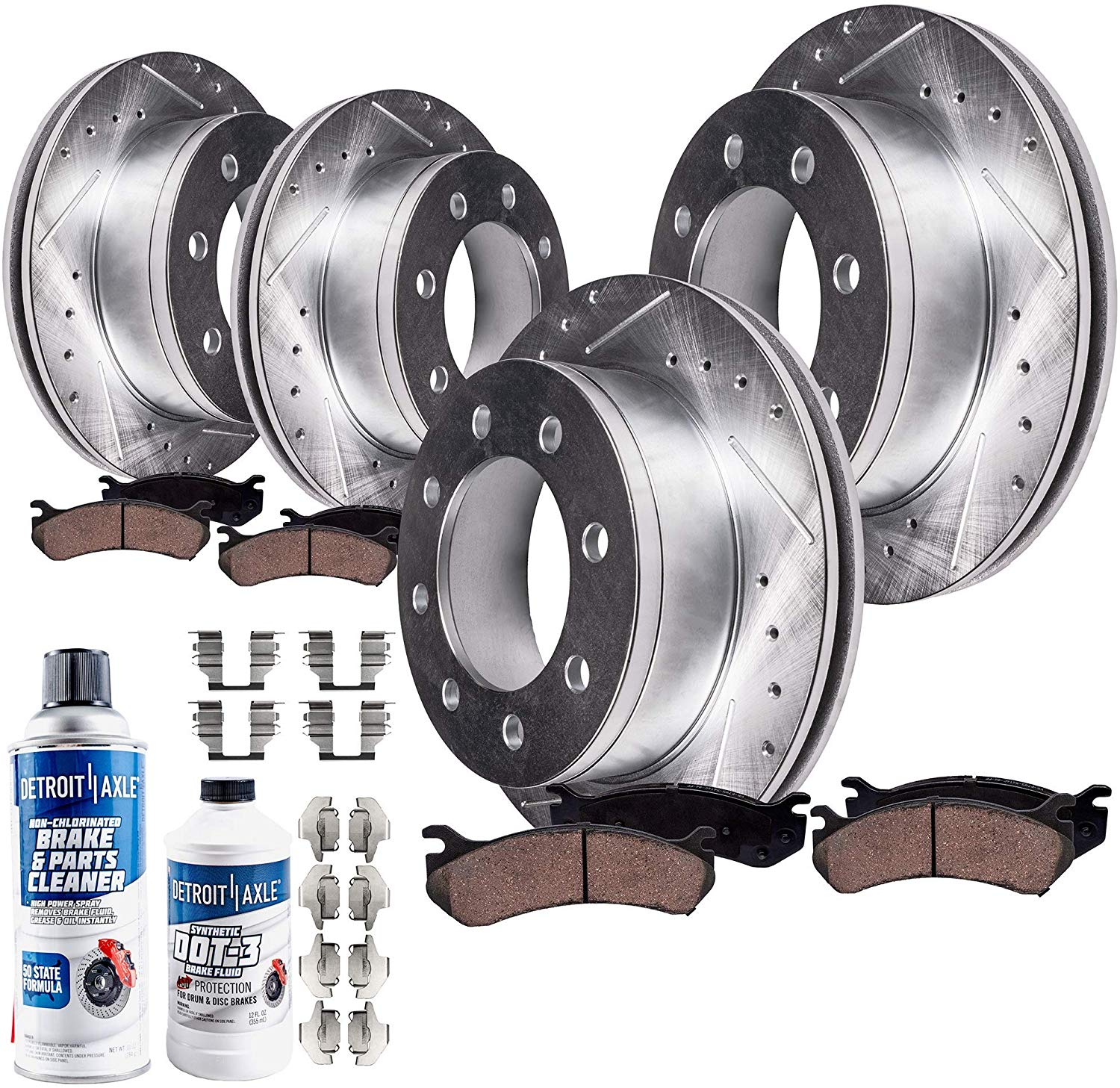 1999 2000 For GMC Chevrolet K3500 Front Disc Brake Rotors and Pads w//8Lugs