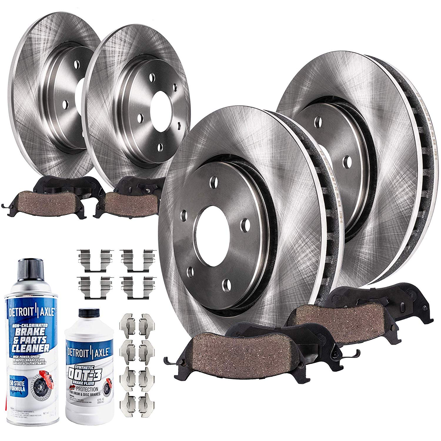 Front + Rear Brake Rotors w/Ceramic Pads Kit for 2.4L Only