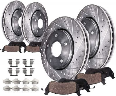 320mm Front and 308mm Rear Brake Rotors and Pads for Infiniti, Nissan - See Fitment | BK91002806